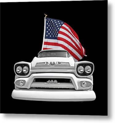 Gmc Pickup With Us Flag Metal Print by Gill Billington