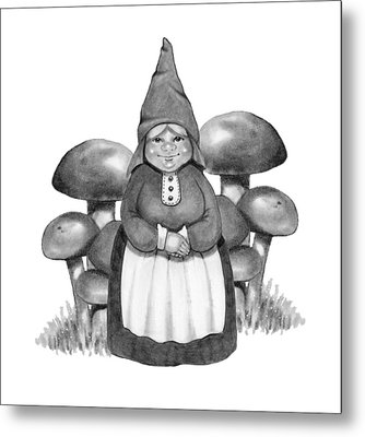 Gnome Lady With Mushrooms Metal Print by Joyce Geleynse