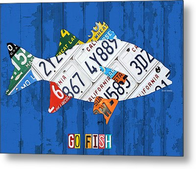 Go Fish Freshwater Bass Recycled Vintage License Plate Art Metal Print by Design Turnpike