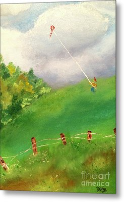 Metal Print featuring the painting Go Fly A Kite by Denise Tomasura