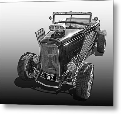 Go Hot Rod In Black And White Metal Print