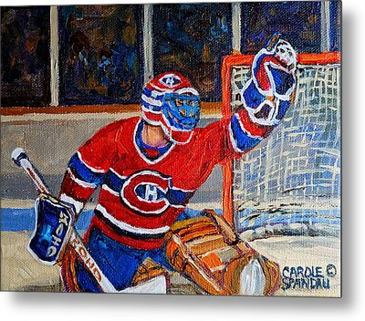 Goalie Makes The Save Stanley Cup Playoffs Metal Print by Carole Spandau