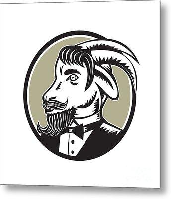 Goat Beard Tuxedo Circle Woodcut Metal Print