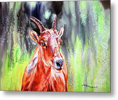 Goat From The Mountain Metal Print by Tracy Rose Moyers