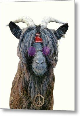 Goat Hippie Red Bandana Americana Metal Print by Madame Memento