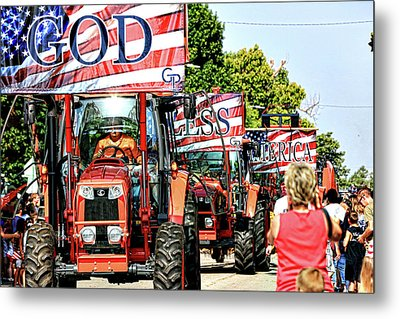 Metal Print featuring the photograph God Bless America And Farmers by Toni Hopper