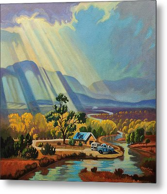 God Rays On A Blue Roof Metal Print by Art West