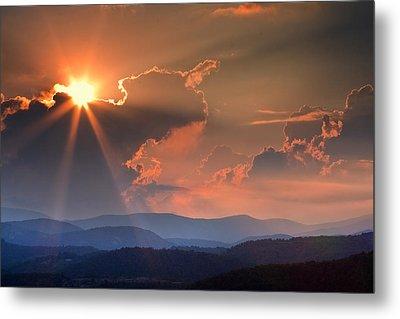 God Rays Over N C  Mountains Metal Print