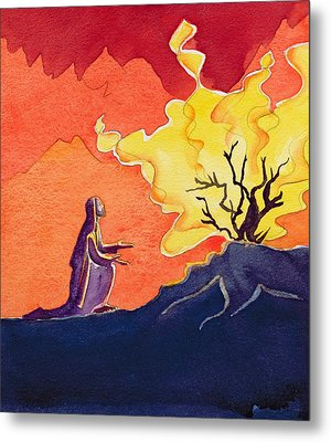 God Speaks To Moses From The Burning Bush Metal Print