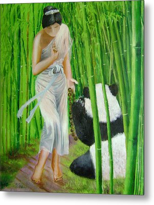 Goddess Of Mercy And Panda Metal Print by Lian Zhen