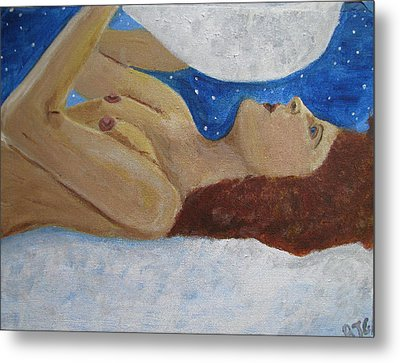 Metal Print featuring the painting Goddess Of The Moon by Barbara Giordano