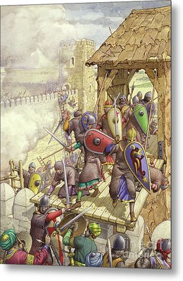 Godfrey De Bouillon's Forces Breach The Walls Of Jerusalem Metal Print
