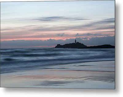 Godrevy Lighthouse From The Beach Metal Print by Pete Hemington