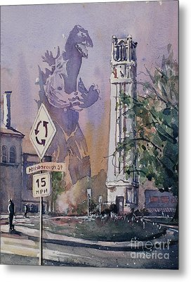 Metal Print featuring the painting Godzilla Smash Ncsu- Raleigh by Ryan Fox