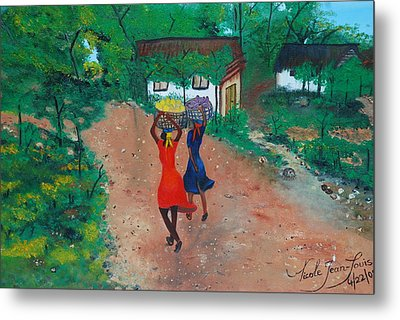 Metal Print featuring the painting Going To The Marketplace 1 by Nicole Jean-Louis
