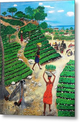 Going To The Marketplace #4 -  Walking Through The Terraces Metal Print by Nicole Jean-Louis