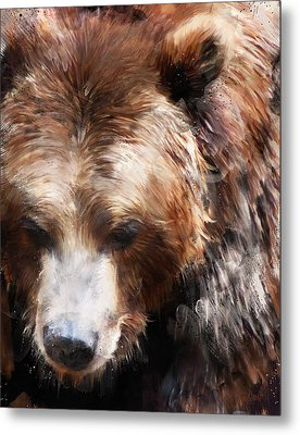 Bear // Gold Metal Print by Amy Hamilton