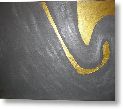 Gold And Gray Metal Print