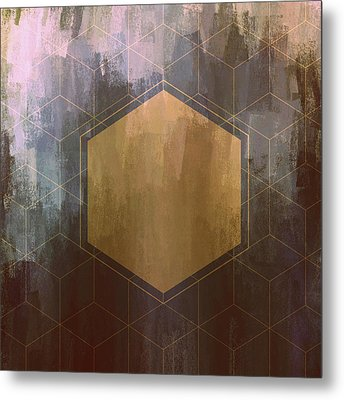 Gold And Purple Hexagon Metal Print by Brandi Fitzgerald