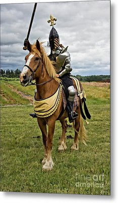 Gold And Silver Knight Metal Print