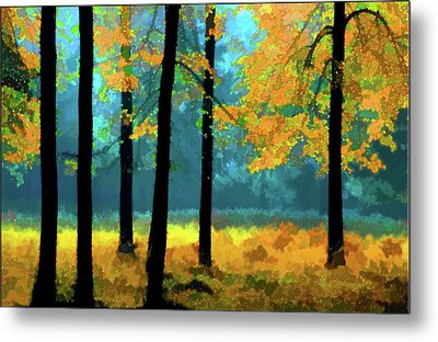 Metal Print featuring the photograph Gold Anl Blue Autumn Day by Vladimir Kholostykh
