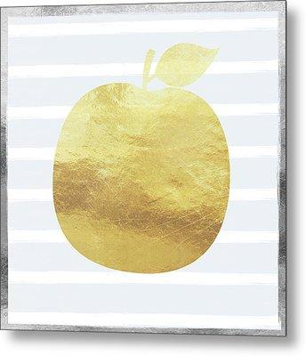 Gold Apple- Art By Linda Woods Metal Print by Linda Woods