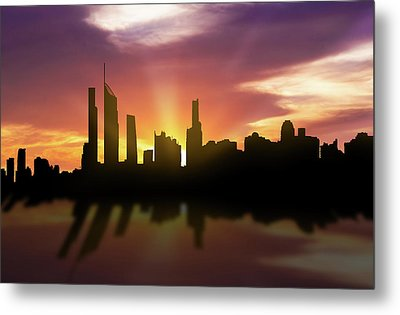 Gold Coast Skyline Sunset Augc22 Metal Print by Aged Pixel