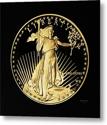 Gold Coin Front Metal Print by Phyllis Denton