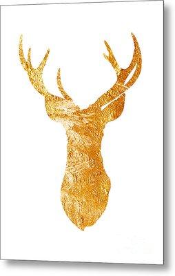Gold Deer Silhouette Watercolor Art Print Metal Print