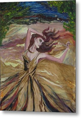 Gold Dress In The Wind Metal Print by Penfield Hondros