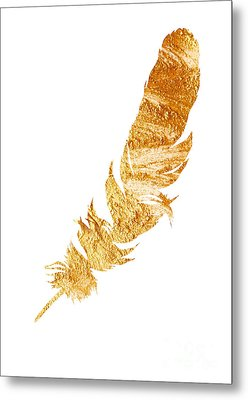 Gold Feather Watercolor Painting Metal Print by Joanna Szmerdt