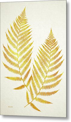 Metal Print featuring the mixed media Gold Fern Leaf Art by Christina Rollo
