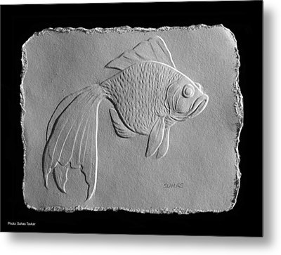 Metal Print featuring the relief Gold Fish 1 by Suhas Tavkar