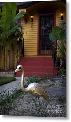 Gold Flamingo Metal Print by Jeanne  Woods
