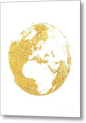 Gold Globe Metal Print by Jennifer Mecca