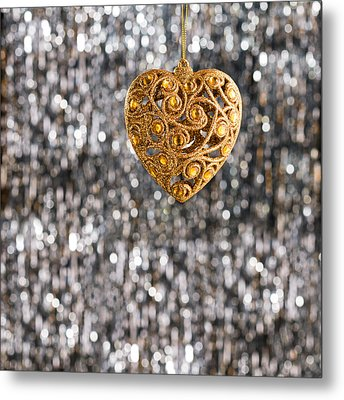 Metal Print featuring the photograph Gold Heart  by Ulrich Schade