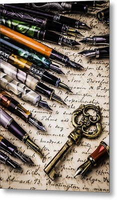 Gold Key And Fountain Pens Metal Print