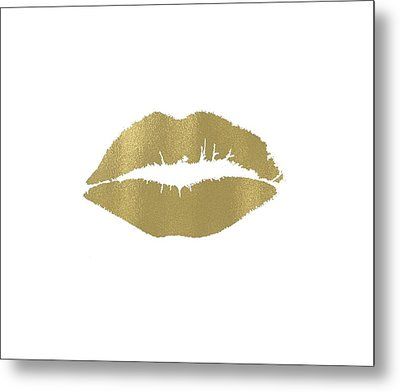Gold Lips Kiss Metal Print