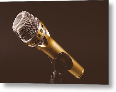 Gold Microphone Metal Print by Happy Home Artistry