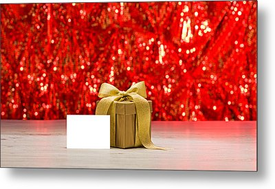 Metal Print featuring the photograph Gold Present With Place Card  by Ulrich Schade