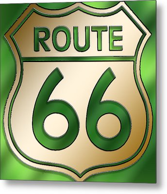 Metal Print featuring the digital art Gold Route 66 Sign by Chuck Staley