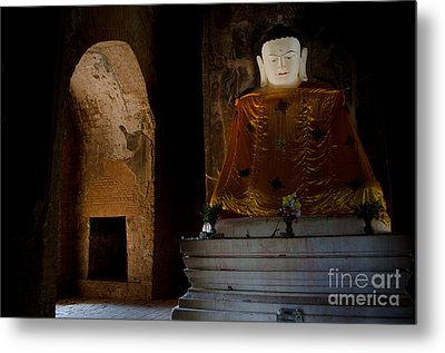 Gold Shrouded Buddha In Burma Basks In Natural Light By Temple Portal Metal Print by Jason Rosette
