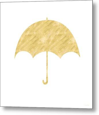 Gold Umbrella- Art By Linda Woods Metal Print