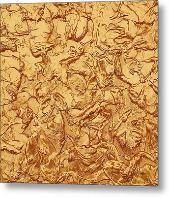 Gold Waves Metal Print