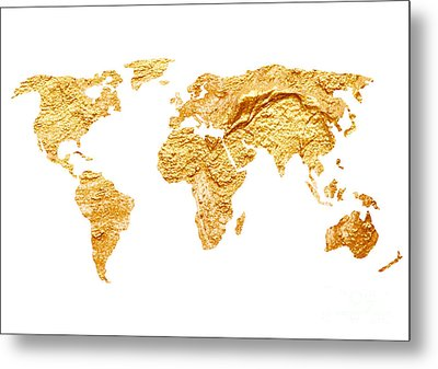 Gold World Map Watercolor Painting Metal Print by Joanna Szmerdt
