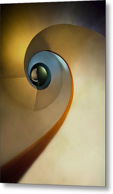 Golden And Brown Spiral Staircase Metal Print