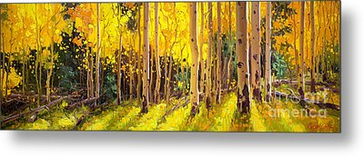 Golden Aspen In The Light Metal Print