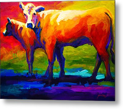 Golden Beauty - Cow And Calf Metal Print by Marion Rose