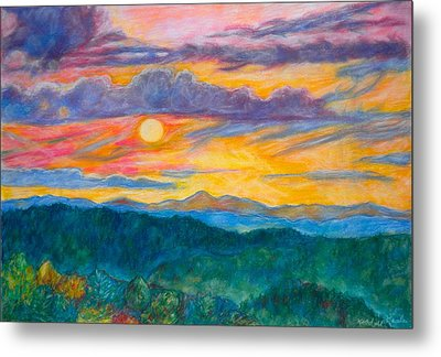 Metal Print featuring the painting Golden Blue Ridge Sunset by Kendall Kessler