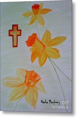 Golden Daffodils Metal Print